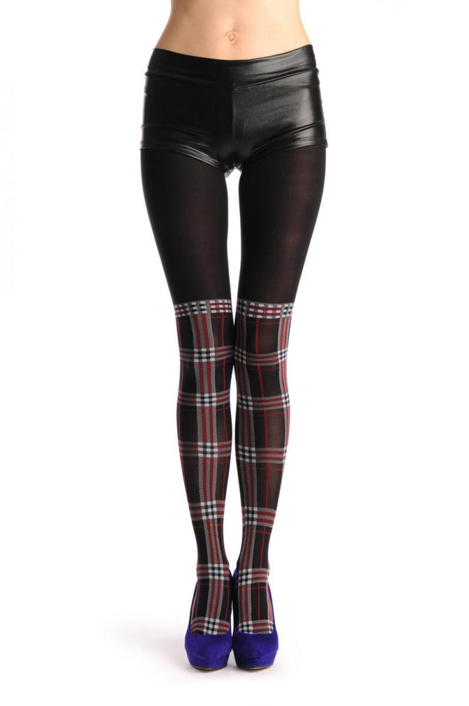 Red Black & White Checkered Sock With Transparent Top