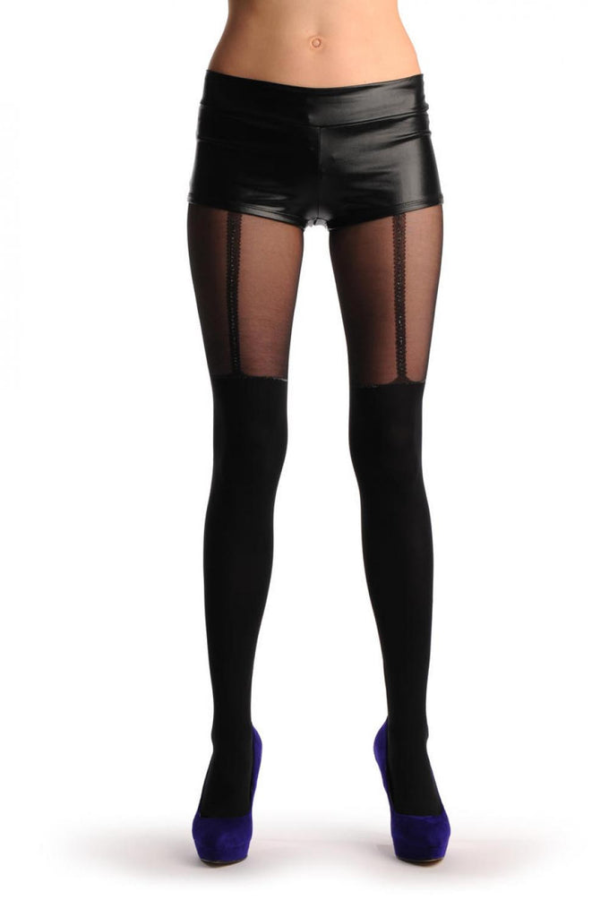 Black Faux Stockings With Silver Lurex Top & Suspender Belt