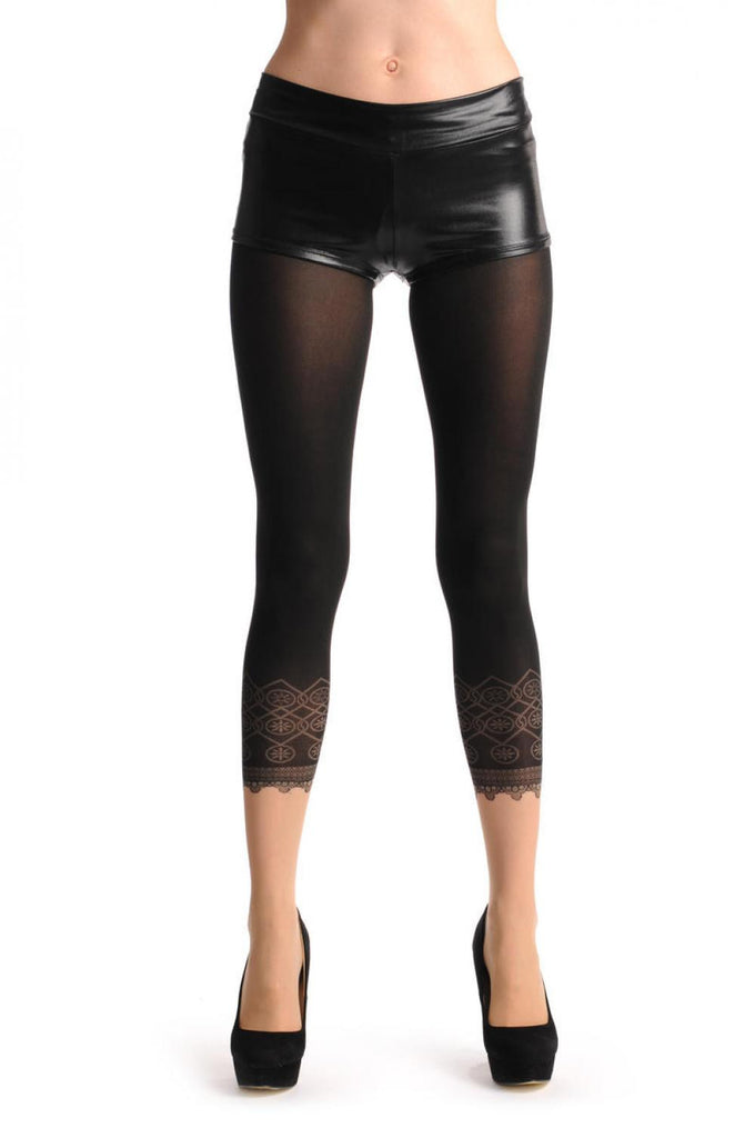 Black Sheer Faux Capri With Lace Trim & Nude Foot