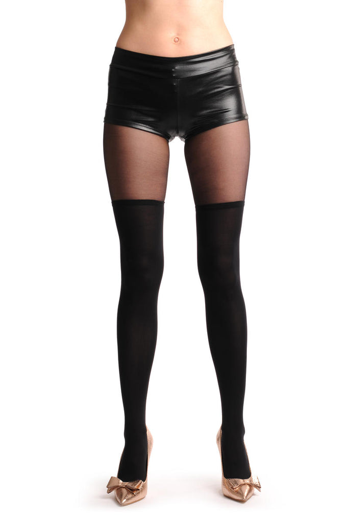 Over The Knee Opaque Socks With Transparent Top
