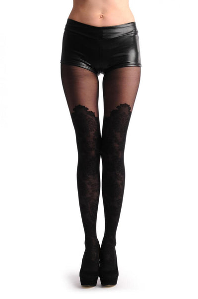 Barocco Lace Style Over The Knee Faux Socks With Transparent Top
