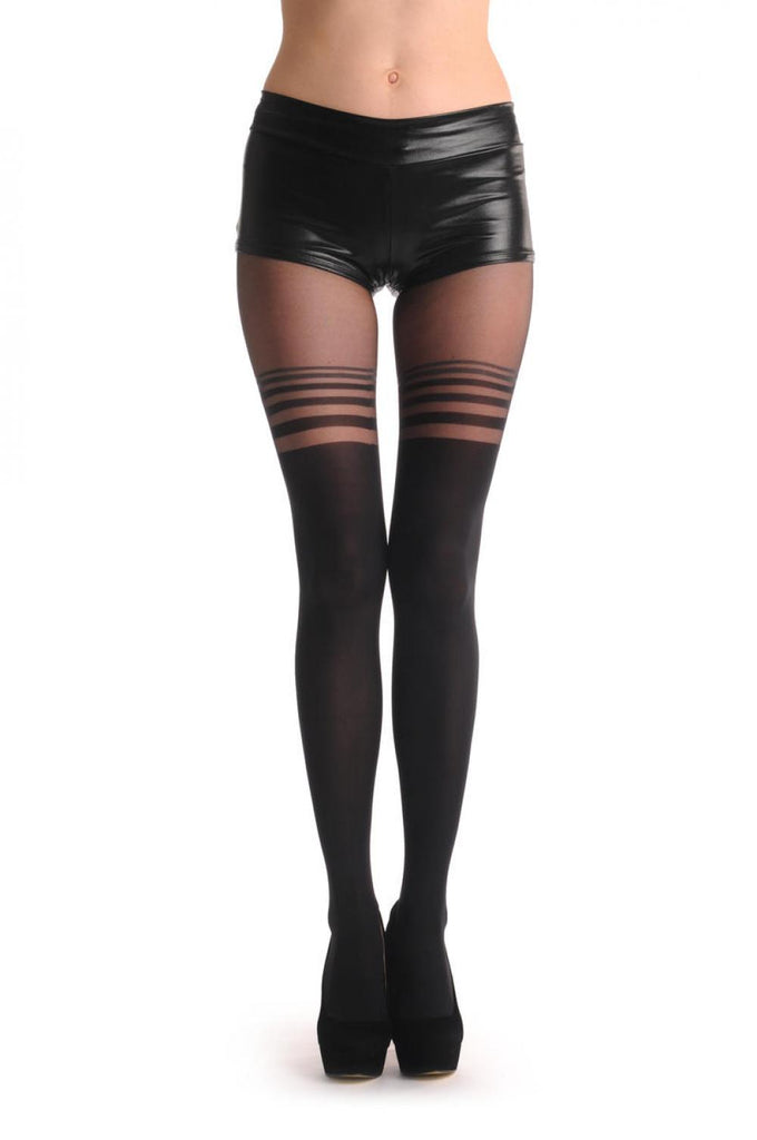 Black With Semi Transparent Black & Grey Stripes Over The Knee 40 Den