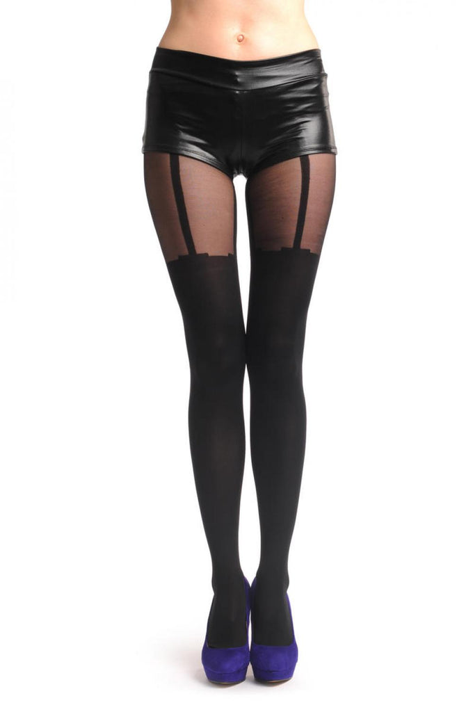 Faux Stockings With Attached Suspender Belt & Transparent Top 40 Den