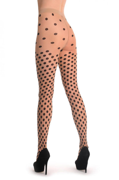 Black Woven Polka Dot On Nude