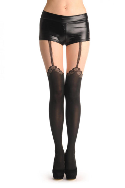 Black Faux Stocking With Woven Roses & Suspender Belt
