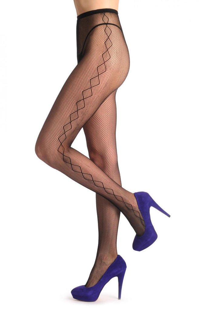 Black Fishnet With Rombs Side Seam