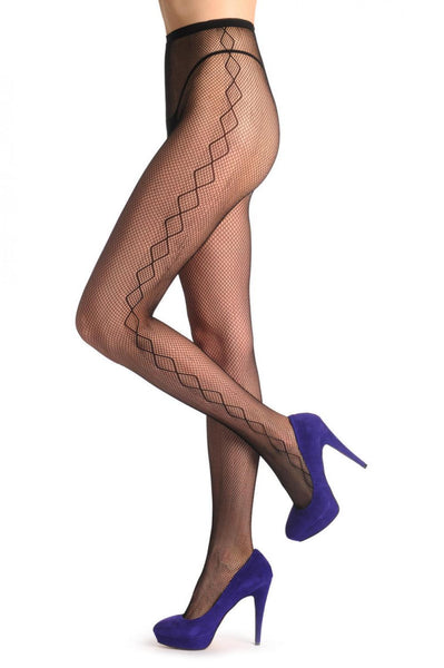 c92ab425decb8 Black Fishnet With Rombs Side Seam - Tights