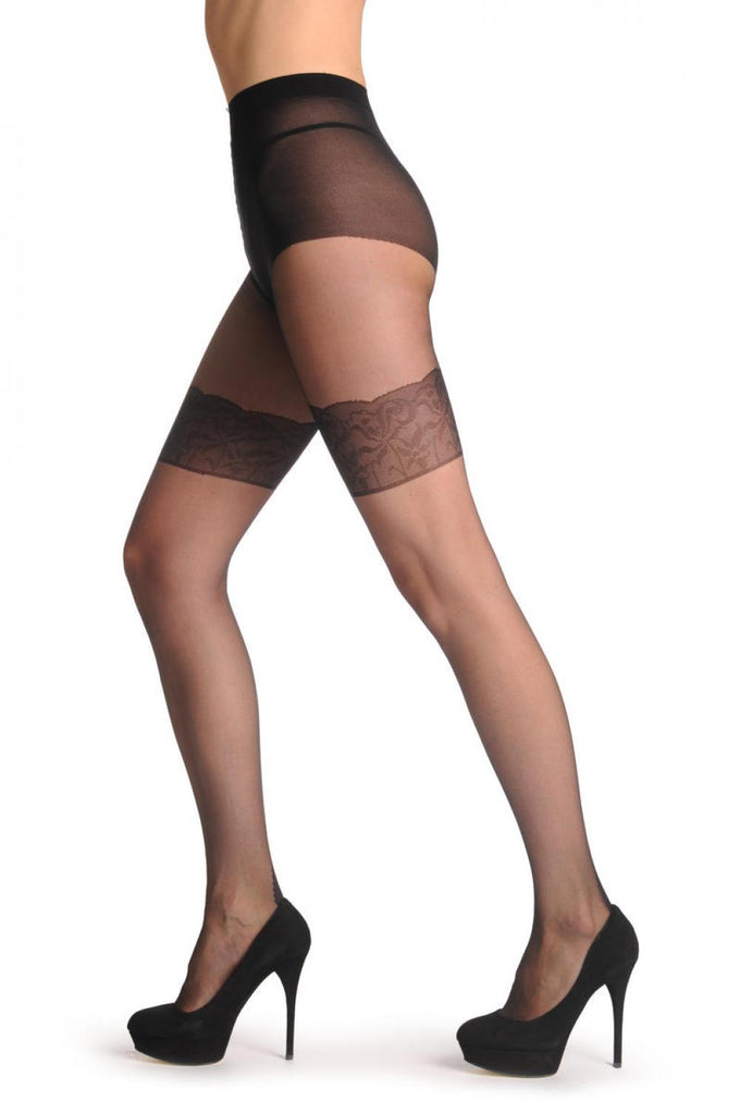 Black Woven On Stockings With Floral Top And Back Seam 20 Den T001465