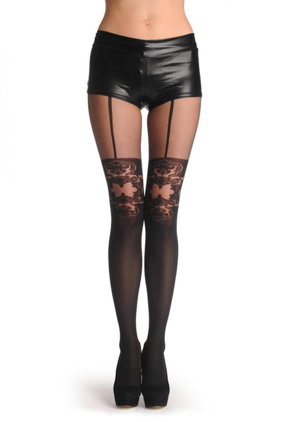 Black Faux Suspender Stocking With Floral Top 40 Den