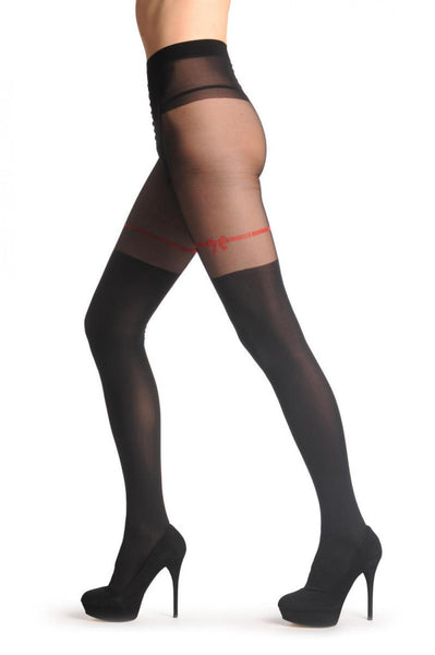 Black Faux Stockings With Red Ribbon & Bow 60 Den