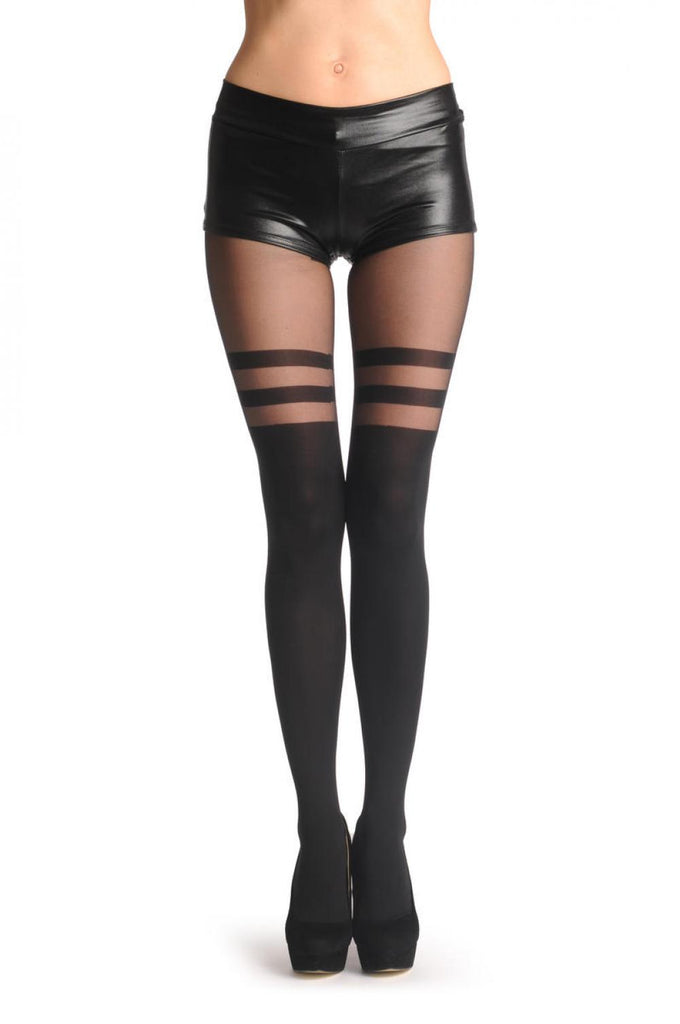 Black Faux Stockings With Striped Top 60 Den