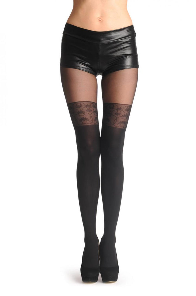 Black Faux Stockings With Floral Woven Lace Top 60 Den