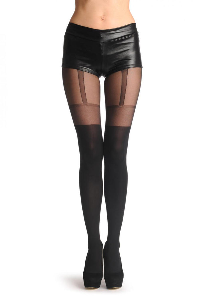 Black Faux Suspender Tights With Meshed Top 60 Den