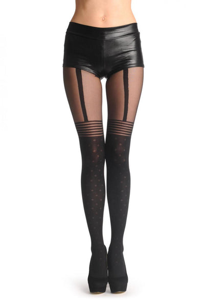 Black Faux Suspender Dotted Tights With Striped Top 60 Den