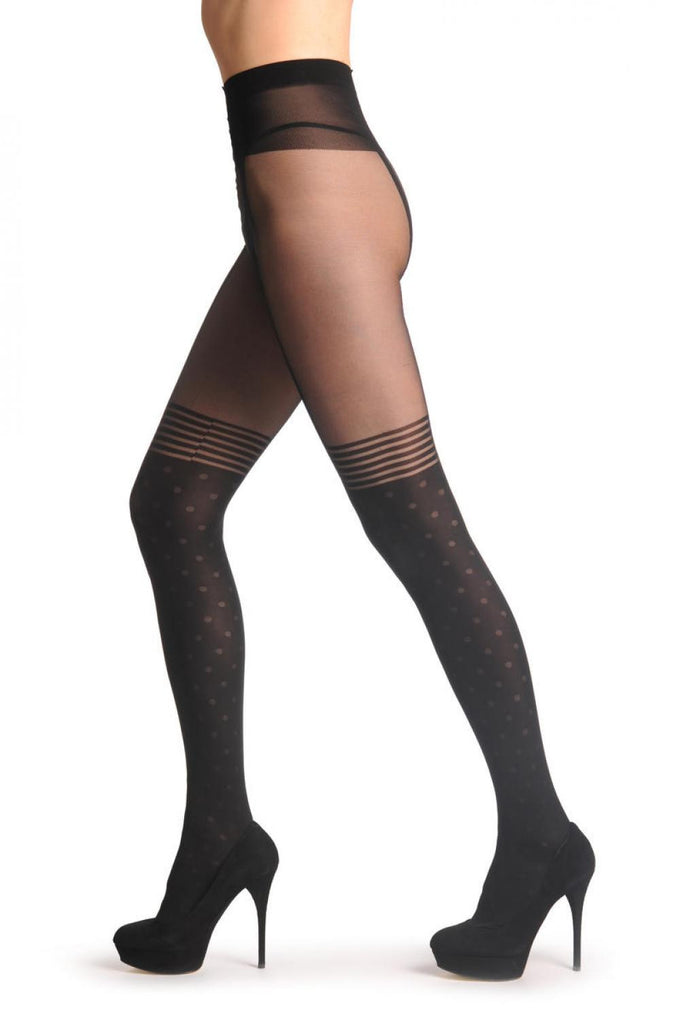 T001626 Black Faux Suspender Dotted Tights With Striped Top 60 Den