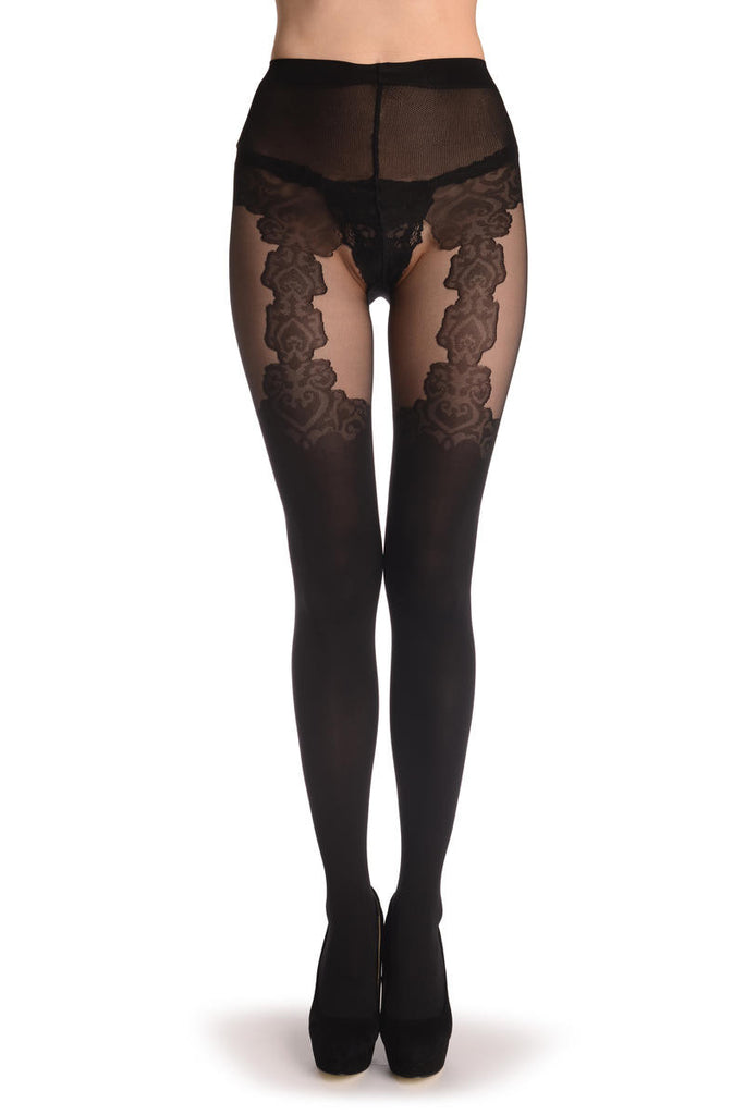 Black Faux Seamed Elegant Lace Stocking With Suspenders 40 Den