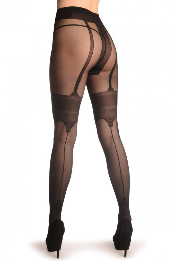 Black With Faux Crowned Suspender Stockings & Back Seam