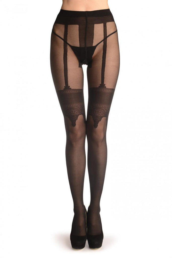 Black With Faux Crowned Suspender Stockings and Back Seam T002061