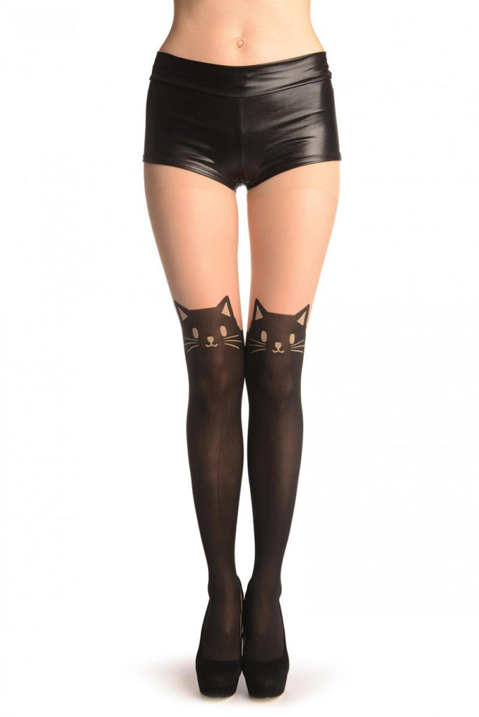 Woven Cat Faux Stockings