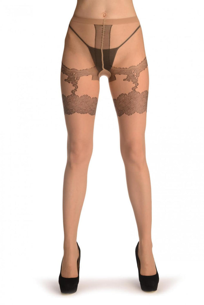 Nude With Floral Faux Suspender Garter