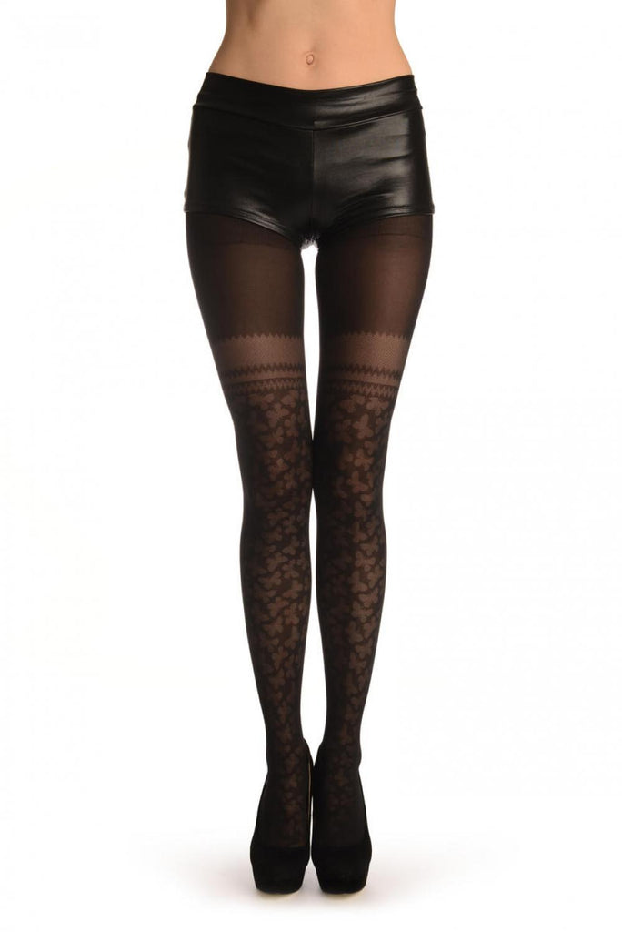 Black With Micro Mesh Butterflies Faux Stockings