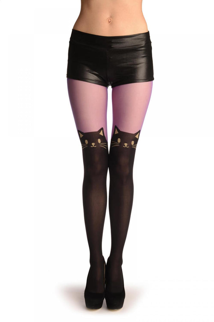 Faux Black Cat Stockings With Purple Top