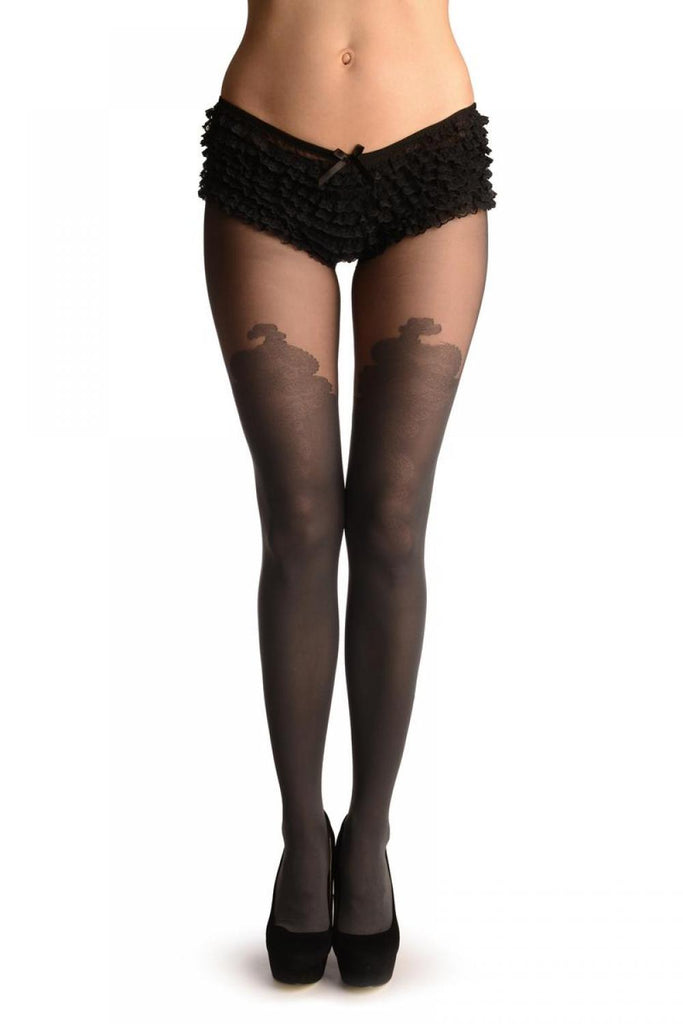 Grey Faux Stockings With Chinese Flower
