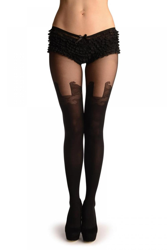 Black Faux Stockings With Crown Top