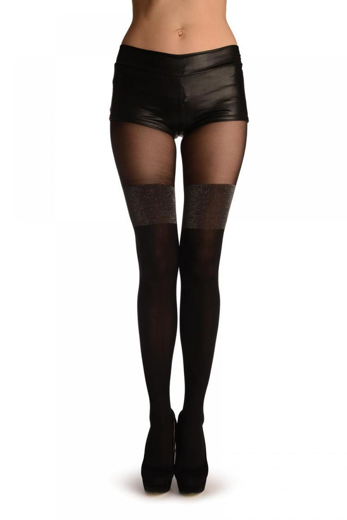 Black Faux Stockings With Silver Lurex Top