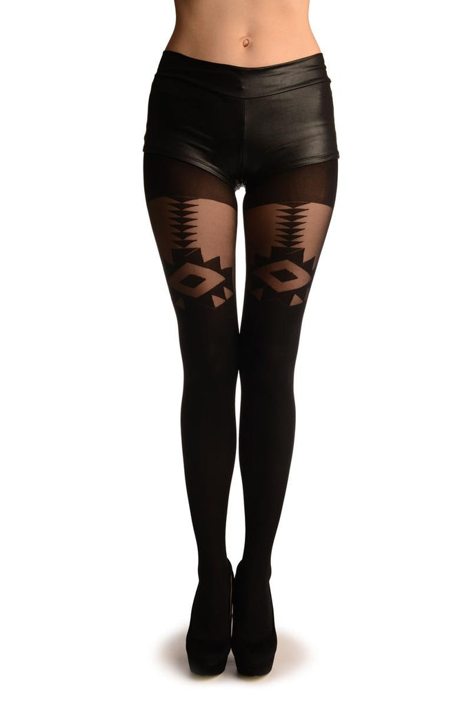 Black Opaque With Sheer Geometrical Faux Garter Tights