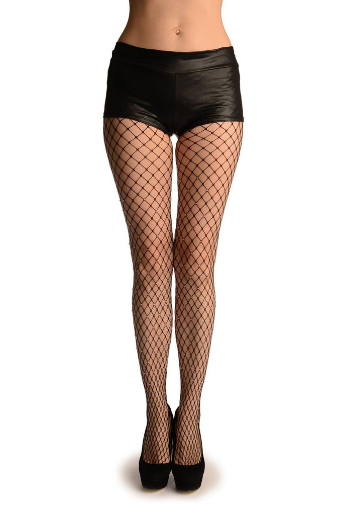 Black Medium Fishnet With Diamantes