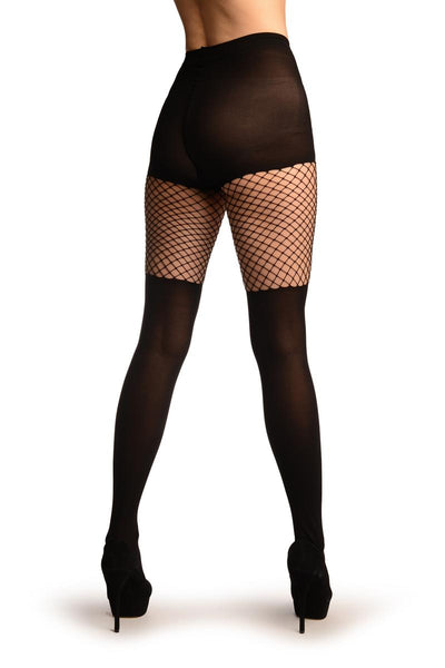 Black Opaque With Fishnet Top