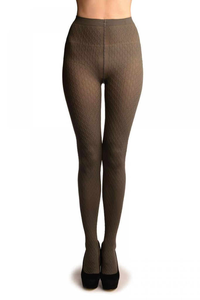 Grey 3D Woven Rhombi All The Way Up Warm Tights