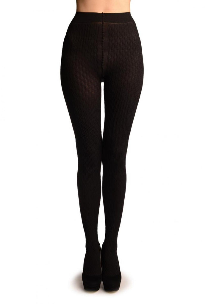 Black 3D Woven Rhombi All The Way Up Warm Tights