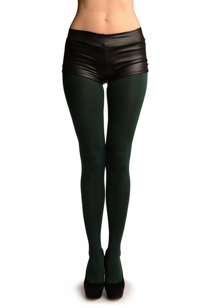 Dark Green With Black  Dots Tights