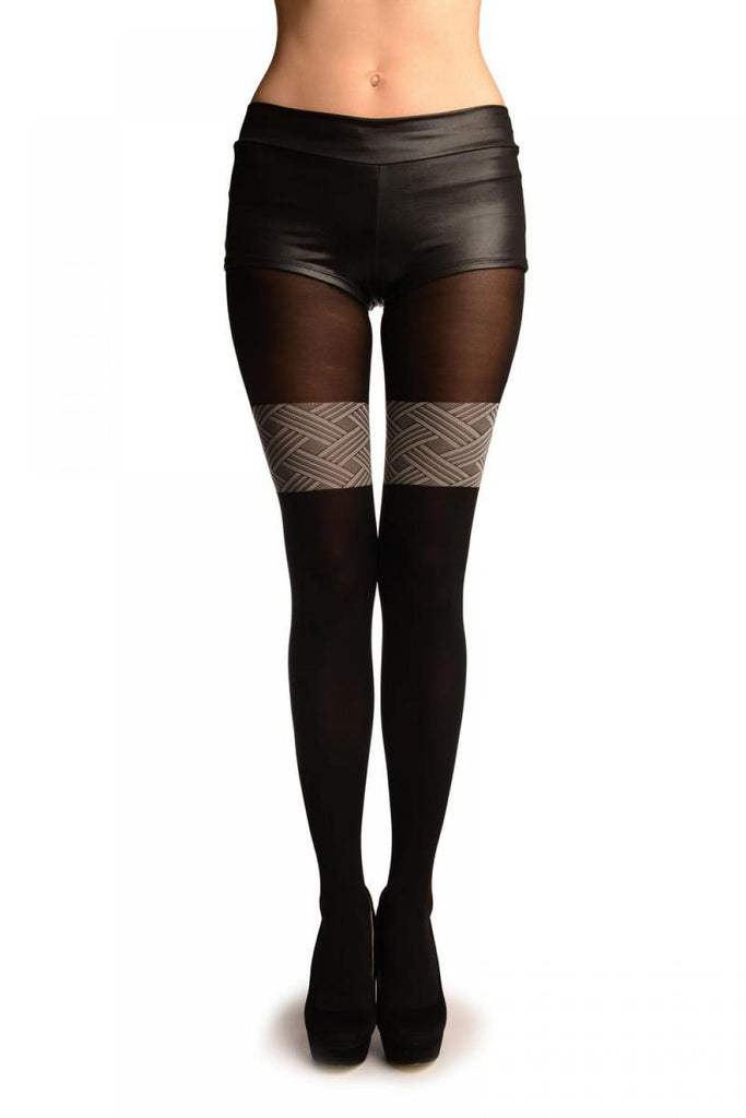 Black With Woven Grey Overlapping Stripes Top Faux Stockings Tights