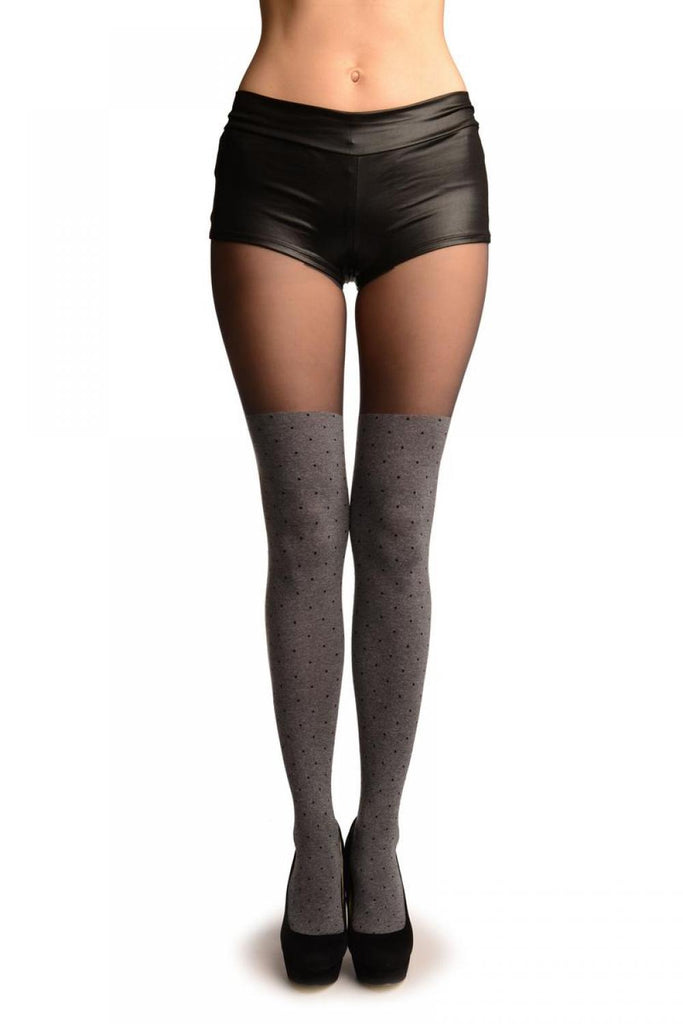 Grey With Black Polka Dots Faux Stockings With Sheer Top Tights