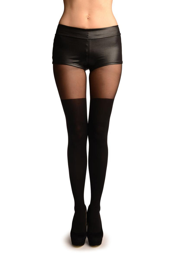 Black Faux Stockings With Sheer Top Tights