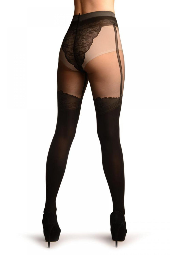 Black Faux Stockings With Suspenders & Sheer Top Tights