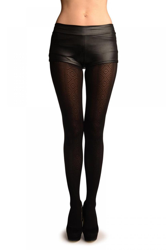 Black With Woven Rhombi Stripes Tights