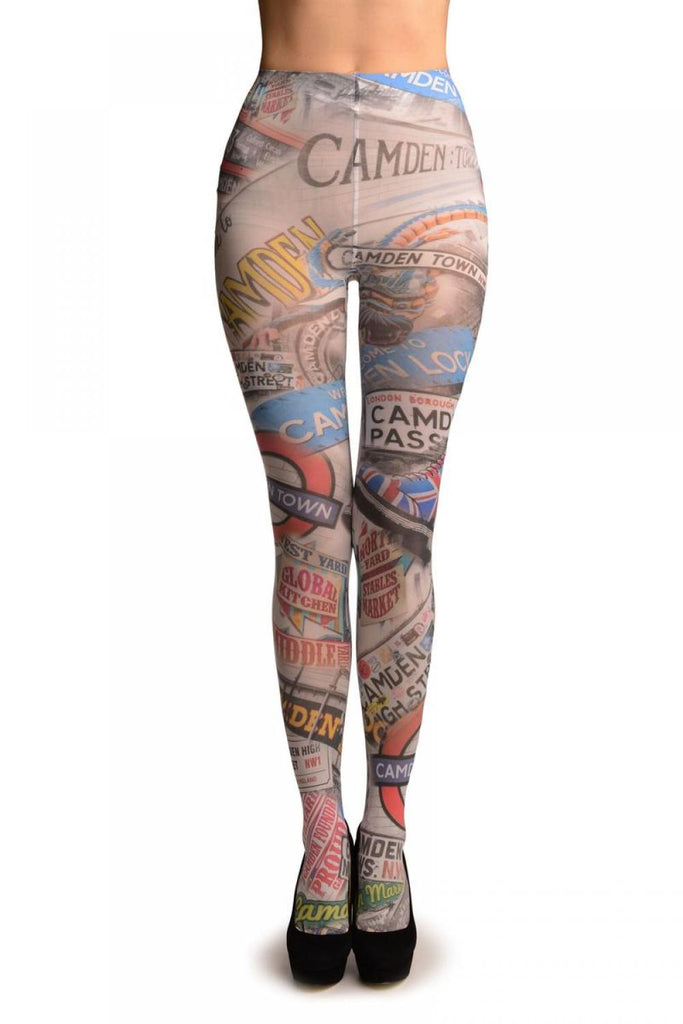 Camden Collage On White Printed Tights