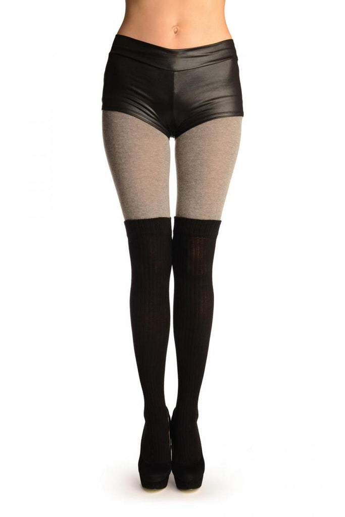 Grey Cotton With Black Ribbed Faux Over The Knee (Winter) Tights