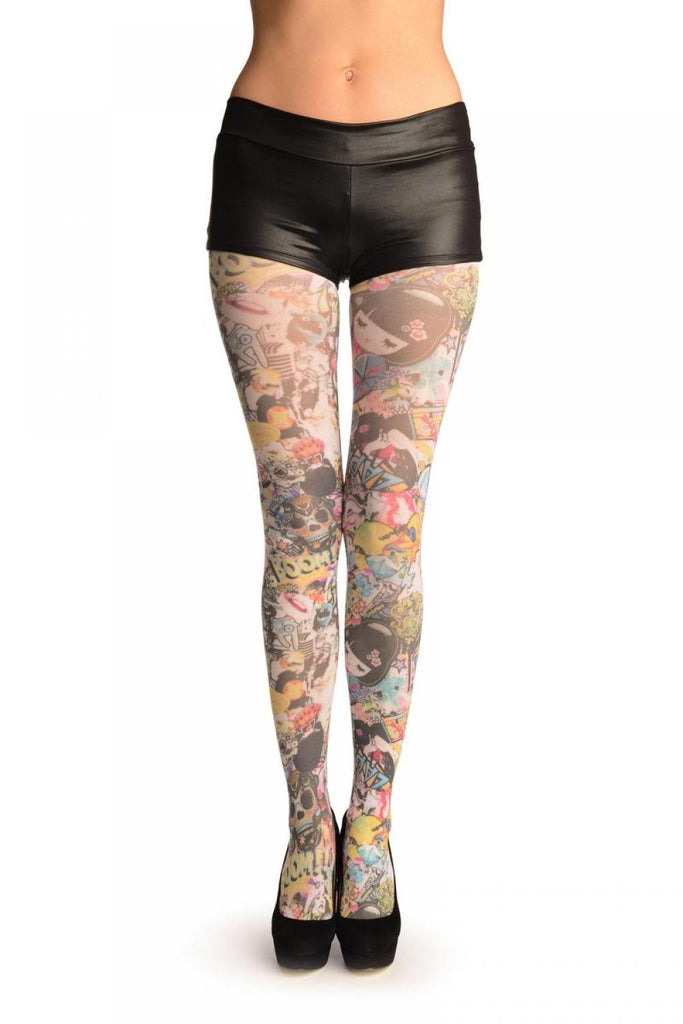 Boom Zap Japanese Girl Collage Printed Tights