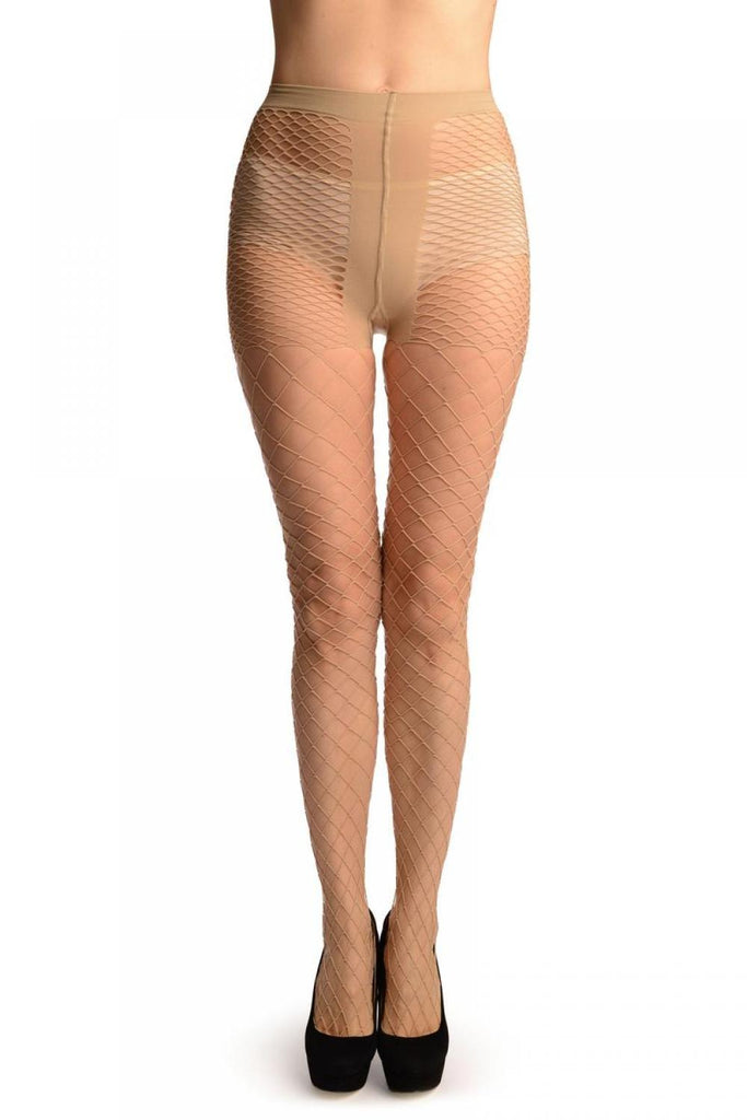 Beige Luxurious Maxi Mesh Fishnet Tights