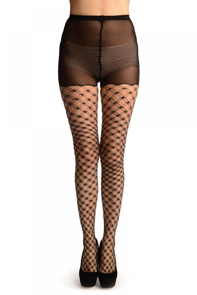 7b8bc325f53a3 Black With Silver Lurex Luxurious Duble Mesh Fishnet Tights | LissKiss