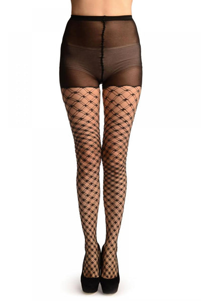 Black With Silver Lurex Luxurious Duble Mesh Fishnet Tights