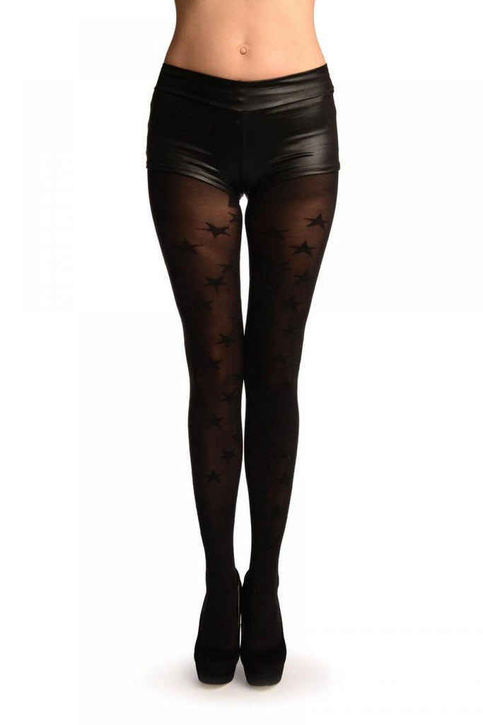 Black With Woven Black Shiny Stars Tights
