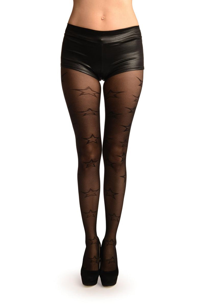 Black Gingham Mesh With Woven Stars Tights