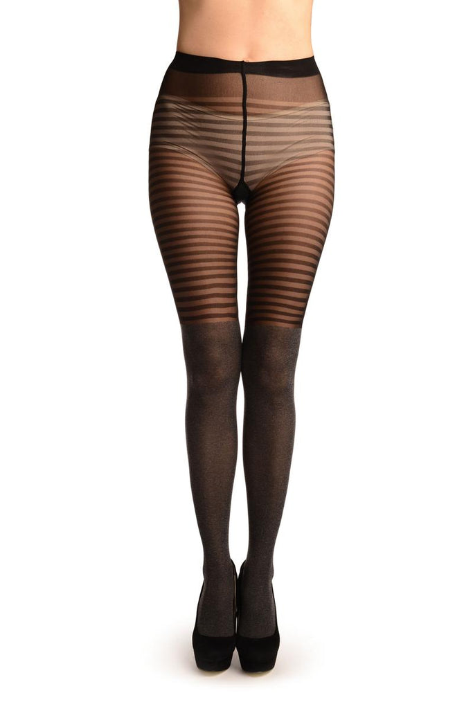 Black & Grey Melange & Striper Top Tights