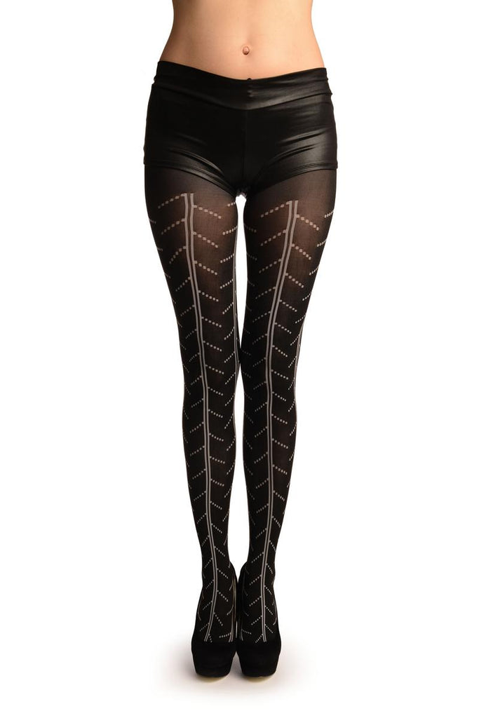Black With White Woven Tires Inprint Pattern Tights